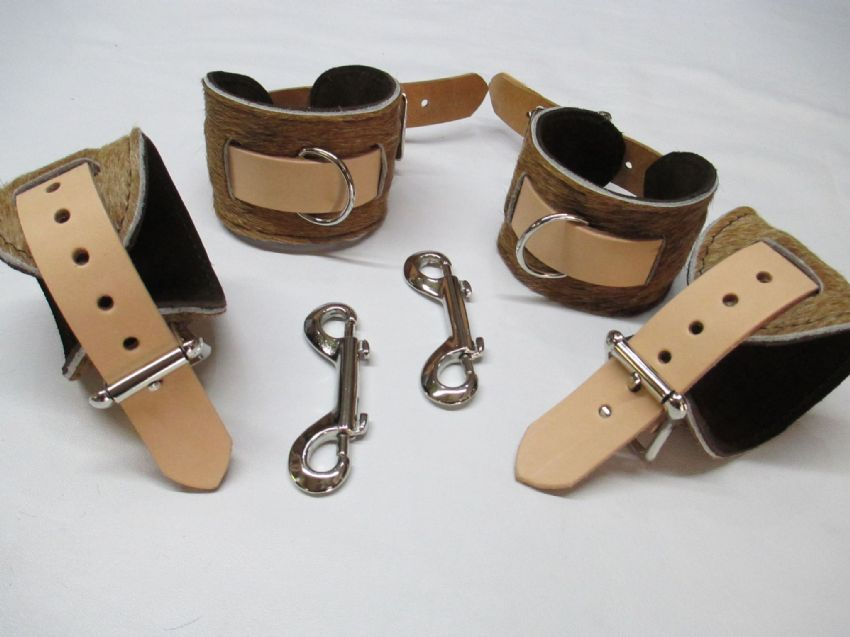4 Piece Exotic Limited Edition hair on hide Leather Restraint Cuffs Set (Wrist & Ankles),
